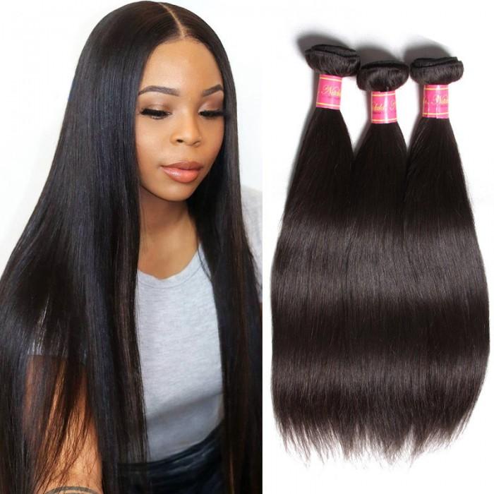 Nadula Quality Virgin Malaysian Hair Weave 3 Bundles Pcs Natural Black Straight Malaysian Virgin Hair Weave