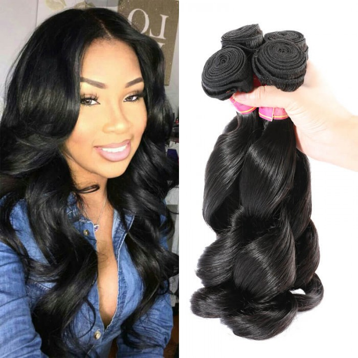 Nadula Real Virgin Remy Loose Wave Peruvian Hair Sew In Weave 100 Human Hair Extensions