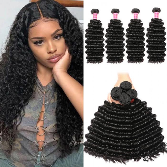 Nadula Soft Virgin Indian Hair 4 Bundles Deep Wave Thick Indian Virgin Human Hair Weave