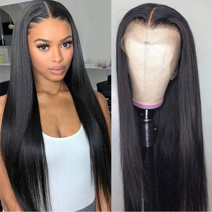 Nadula Invisible 13x4 HD Lace Front Wigs Smooth Straight Human Hair Wigs 150% Density Natural Black