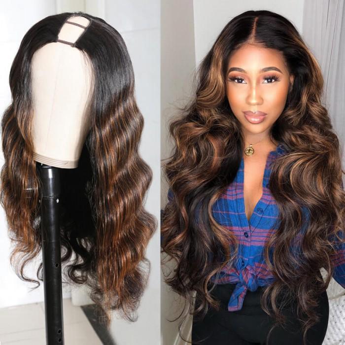 Nadula U Part Body Wave Wigs 2×4 inch U Part Dark Auburn Virgin Human Hair Wigs 12-24 Inch 150% Density