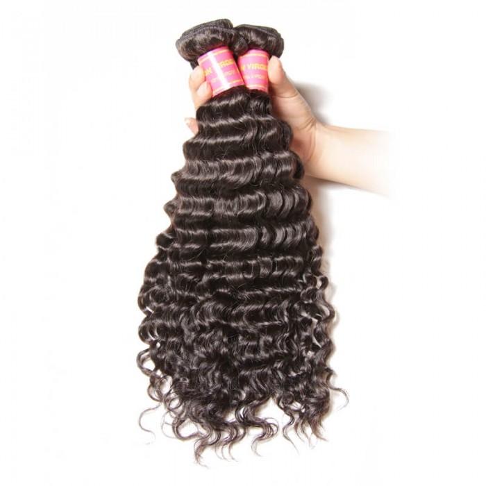 Nadula Unprocessed Virgin Peruvian Hair Bundles Deep Wave 4 Pcs Thick Peruvian Human Hair Weave