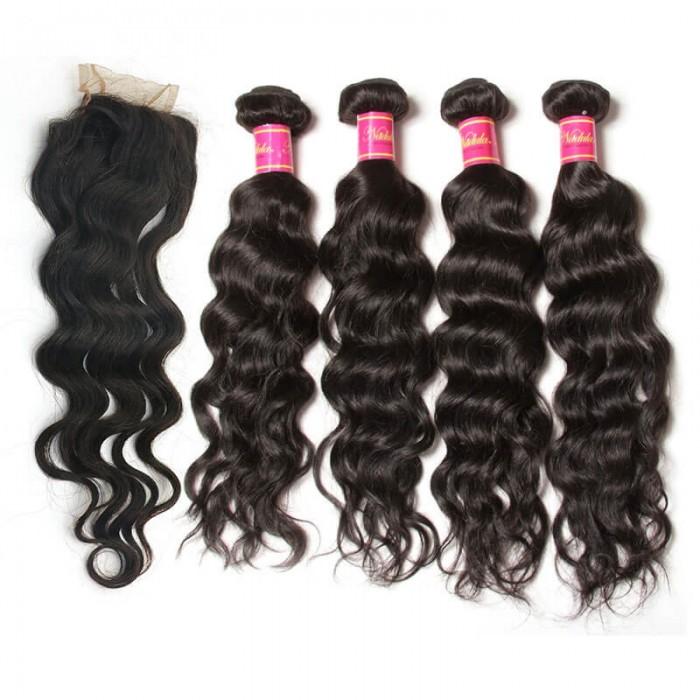 Nadula Virgin Hair Natural Wave 4 Bundles With 4*4 Lace Closure 100% Virgin Human Hair Free Shipping