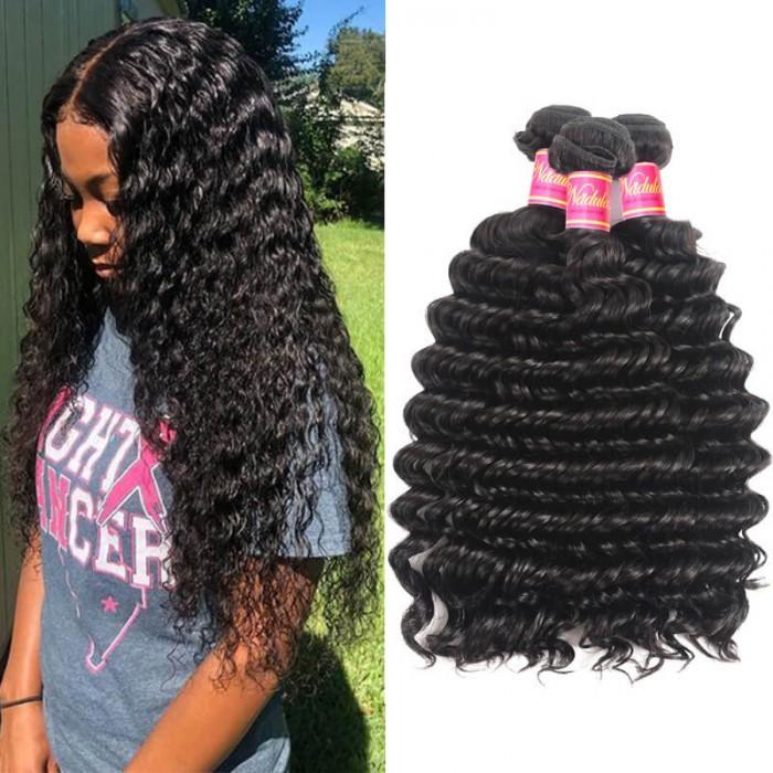 Nadula Virgin Indian Hair 3 Bundles Deep Wave Natural Black Virgin Remy Indian Human Hair Weave