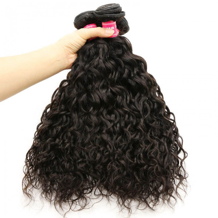 Nadula Virgin Malaysian Hair Bundles 3pcs Malaysian Water Wave Weave Natural Color