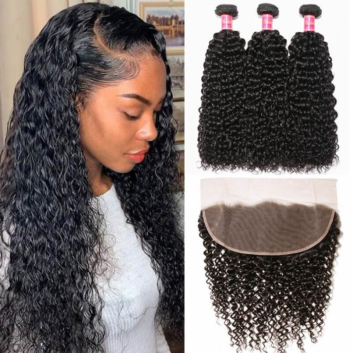 Nadula Wholesale Brazilian Curly Hair Weave 3 Bundles With 13x4 Lace Frontal Closure For Short Hair
