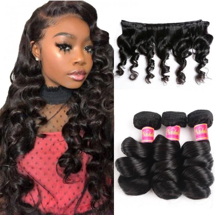 Nadula Wholesale Virgin Peruvian Loose Wave Hair 3Bundles Peruvian Wavy Hair On Sale