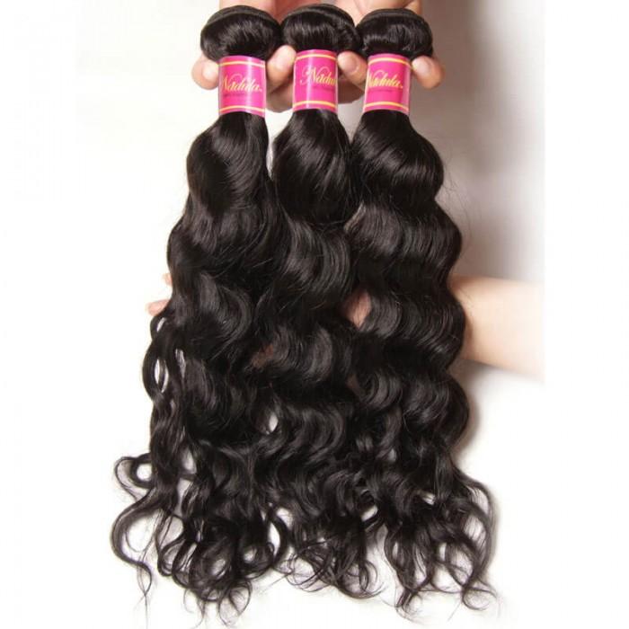 Natural Wave Nadula Virgin Hair Weave 3 Bundles With Closure Unprocessed Human Hair