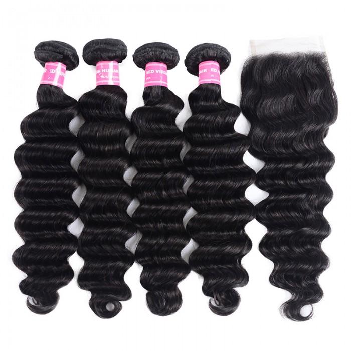 Nadula Loose Deep Virgin Hair Weave 4 Bundles With Closure 100% Virgin Hair With 10in-20in Lace Closure