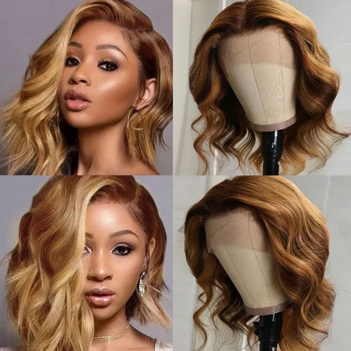 Nadula Ombre Highlight Body Wave Short Bob Wigs Transparent 13x4 Lace Front Wig Pre Plucked