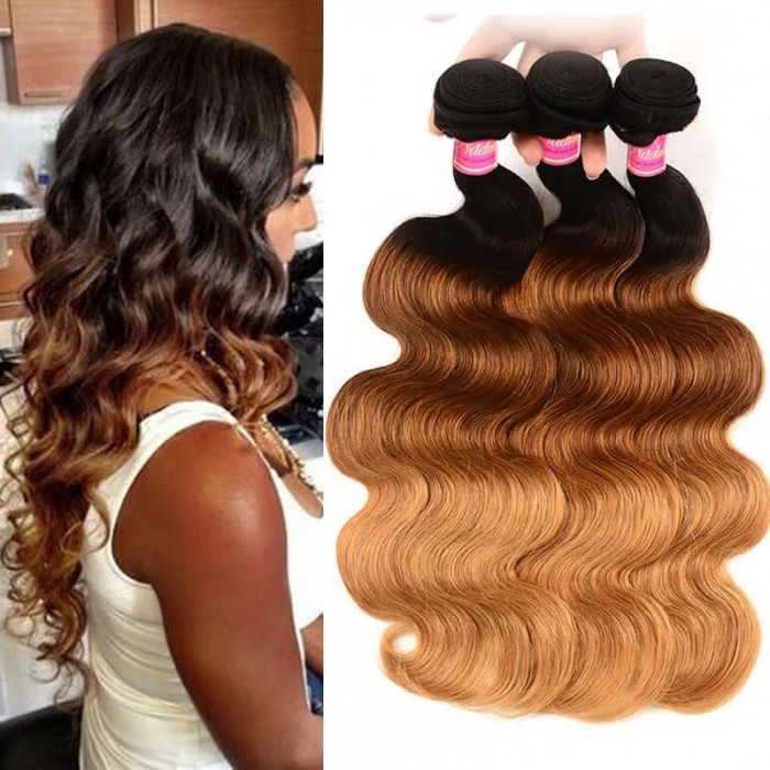 Nadula Body Wave Ombre Hair 3 Bundles 3 Tone Color Human Hair Weave Extensions For Sale