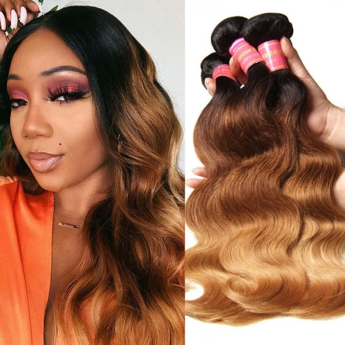 Nadula Ombre Hair Weave Body Wave 4 Bundles 3 Tone Color Ombre Human Hair Extensions