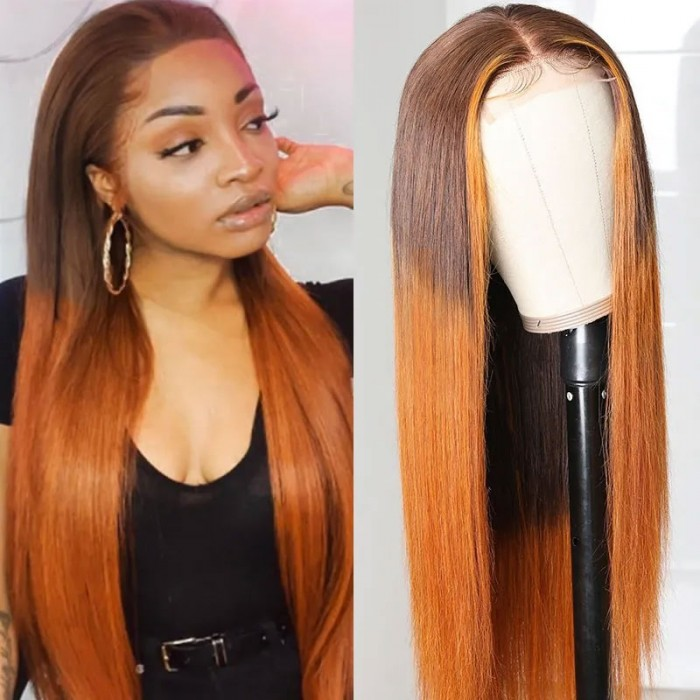 Nadula Straight Ombre Wig Lace Closure Wig With Natural Hairline LT430 Wigs Hand Tied Lace Wig 150% Density