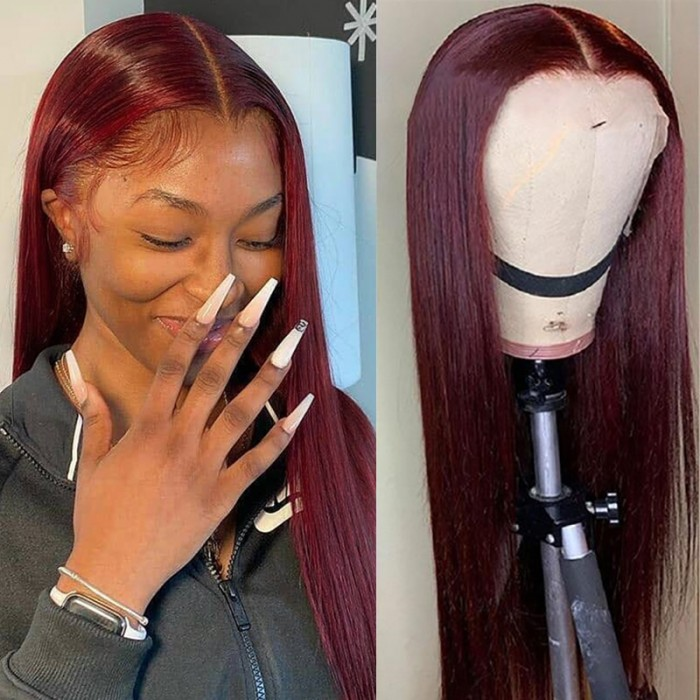 Nadula Colored Wigs 99J Straight 13x4 Lace Front Wigs Red Wine Color Virgin Human Hair Wigs 150% Density