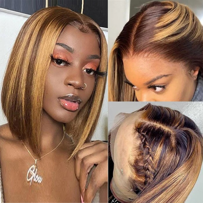 Nadula Straight Bob Wig 13x4 Lace Wig Brown Colored Blonde Highlights Wig 100% Remy Human Hair Wig 150 Density