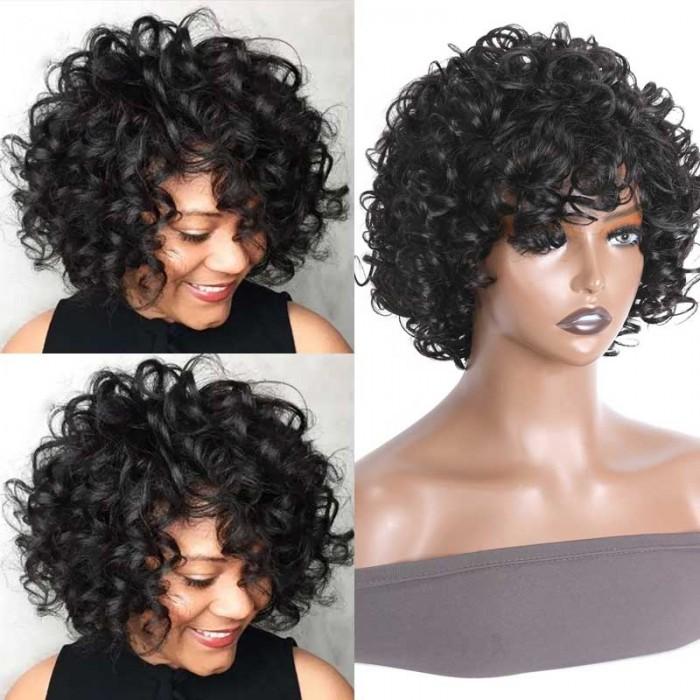 Nadula Bouncy Curls Short Human Hair Wigs With Bangs Glueless Short Pix Cut Wigs For Black Women