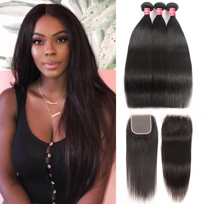 Nadula Transparent Lace Closure With Straight Virgin Hair Weave 3 Bundles Soft Unprocessed Virgin Human Hair
