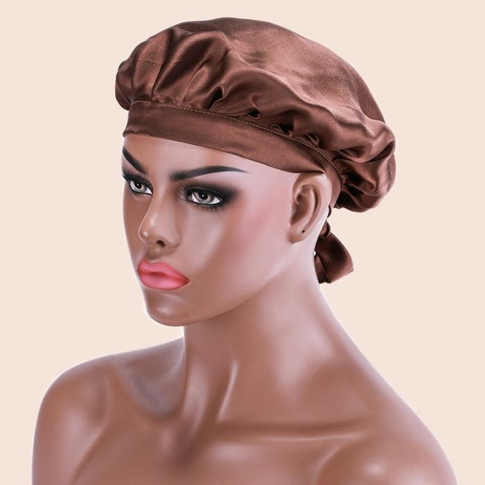 Nadula Satin Pink Night Cap Sleeping Hat Silk Night Cap For Hair For Women
