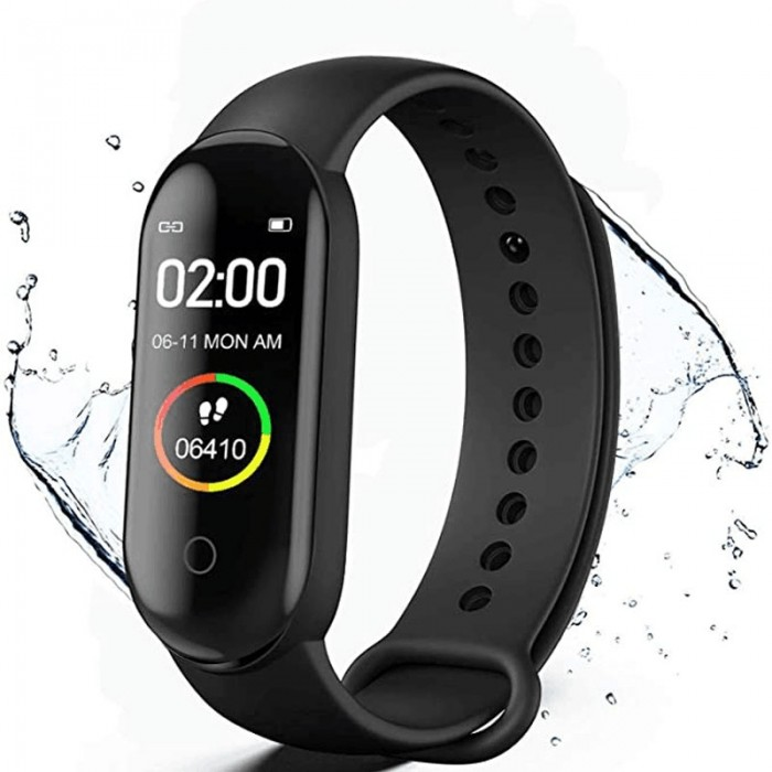 M4 Health and Sports Smart Waterproof Watch Fitness Activity Tracker With Heart Rate and Blood Pressure Monitor, Sleep Monitor, Step Counter, Calorie Counter