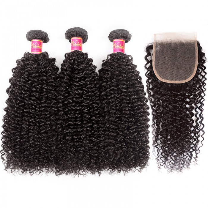 Nadula Kinky Curly Hair Weaves With 4×4 Lace Closure Pre-plucked 8-26 Inch Human Hair