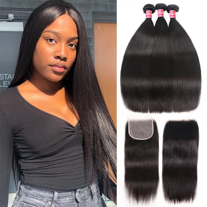 Nadula Straight Hair Weave 3 Bundles With Lace Closure Soft Silk Unprocessed Virgin Human Hair