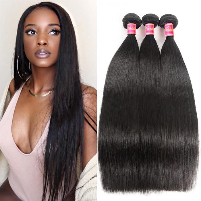 Nadula Cheap Brazilian Hair 3 Bundles Unprocessed Virgin Brazilian Straight Hair Weave Natural Black