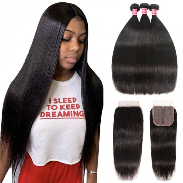 Nadula 4*0.75 Inch T Part Straight Virgin Hair Closure with 3 Bundles Soft Unprocessed Virgin Human Hair
