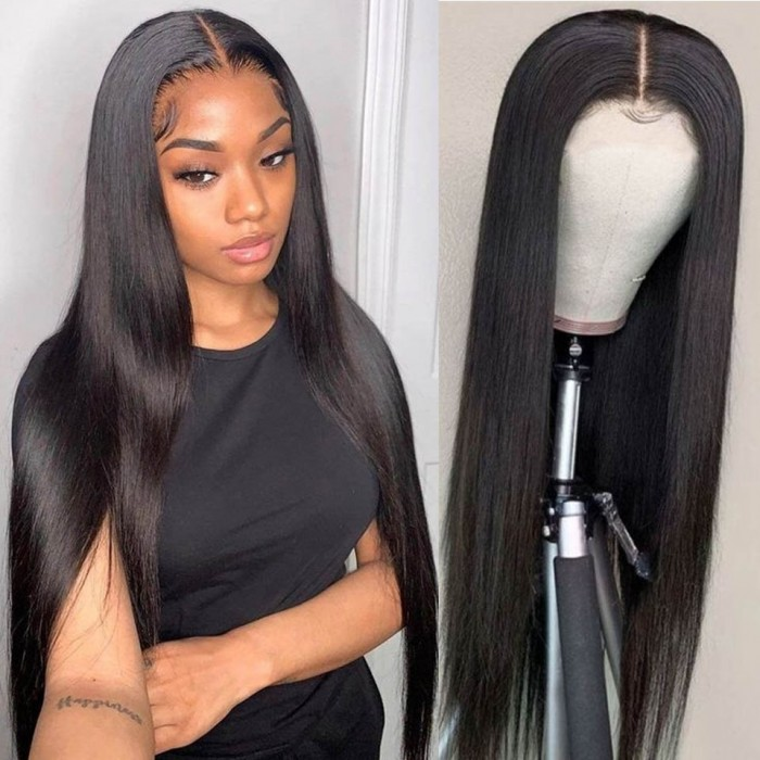 Nadula 13 by 6 Inch HD Lace Wig Straight Virgin Human Hair Transparent Lace Wig Pre-Plucked Wigs