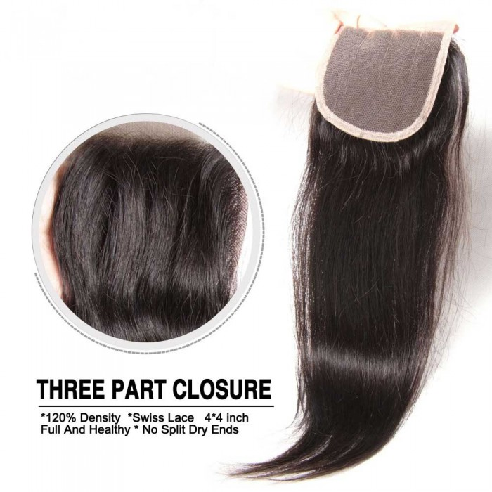 Nadula Three Part Middle Part And Free Part Lace Closure Straight 100% Virgin Human Hair