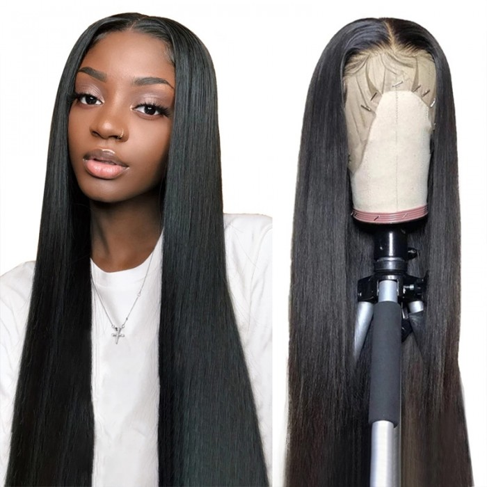 Nadula Straight Hair 13×6 Transparent Lace Wig 100% Remy Human Hair Pre-Plucked 180% Density Wigs