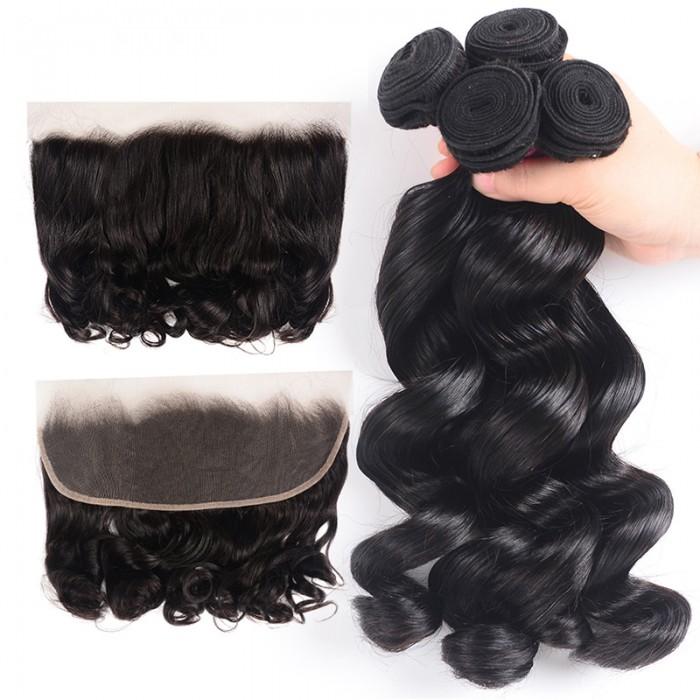 Nadula Loose Wave Hair Weave With 13X4 Lace Closure 4 Bundles Thick Human Hair