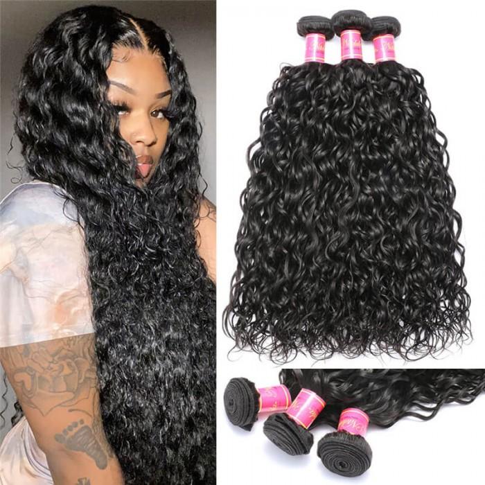 Nadula Indian Water Wave Virgin Human Hair Weave 3 Bundles Wavy Healthy Human Hair