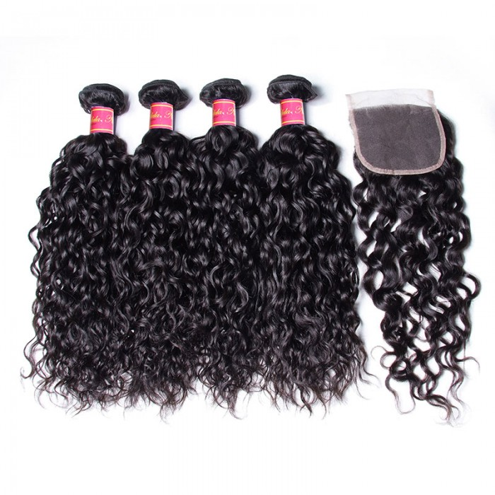 Nadula Water Wave Pre Pluck 4*4 Lace Frontal Closure With 4 Bundles Virgin Human Hair Weave