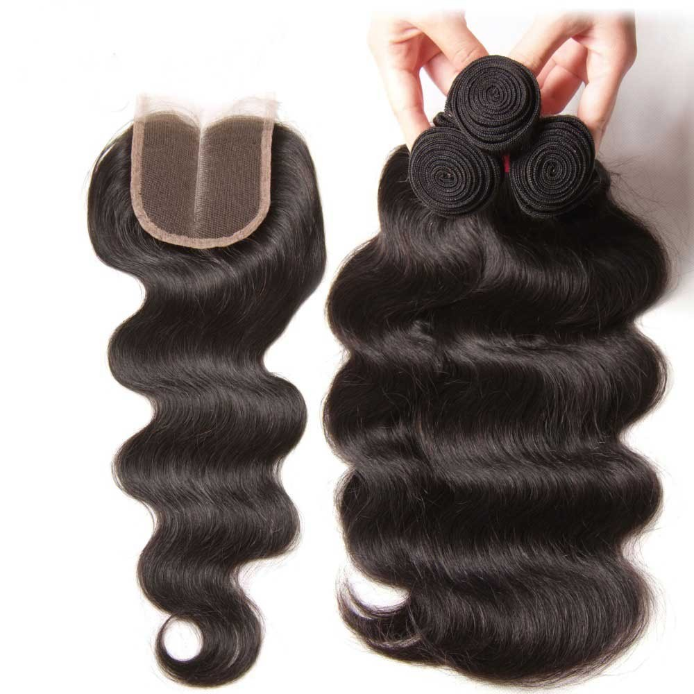 Nadula 4 Bundles Body Wave Hair Weave With Lace Closure