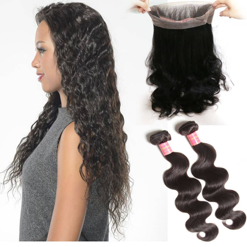 Body Wave Virgin Hair 2 Bundles With 360 Lace Closure
