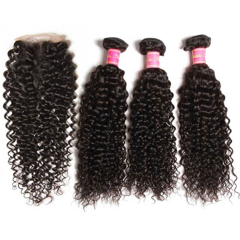 Curly virgin hair weave 3 bundles with lace closure 4x4 nadula curly hair with closure pmusecretfo Gallery
