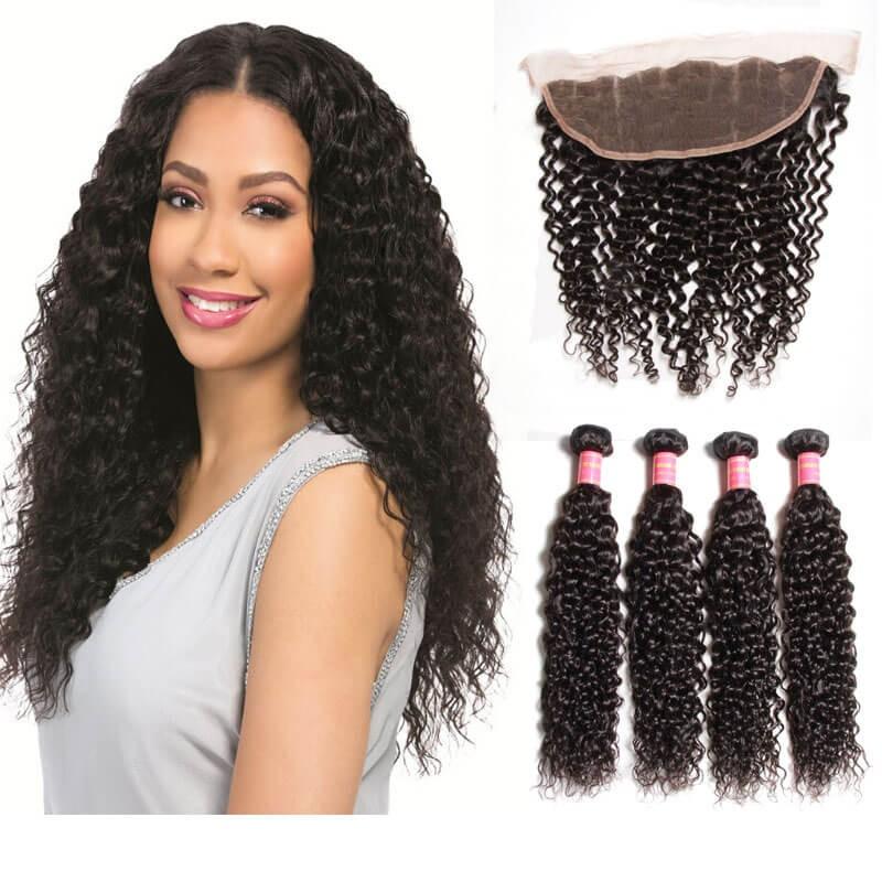 Pcs Curly Virgin Hair Bundles Lace Frontal Closure