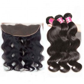 Body Wave Virgin Hair 3 Bundles With Lace Frontal Closure 13x4 Wholesale Nadula Human Hair Weave