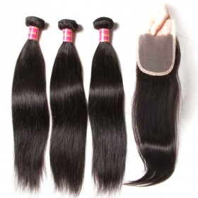 Nadula Straight Virgin Hair Weave 3 Bundles With Lace Closure Soft Unprocessed Virgin Human Hair