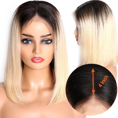 blonde bob wig with dark roots