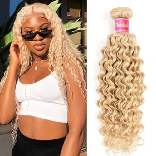 1 bundle blonde deep wave hair