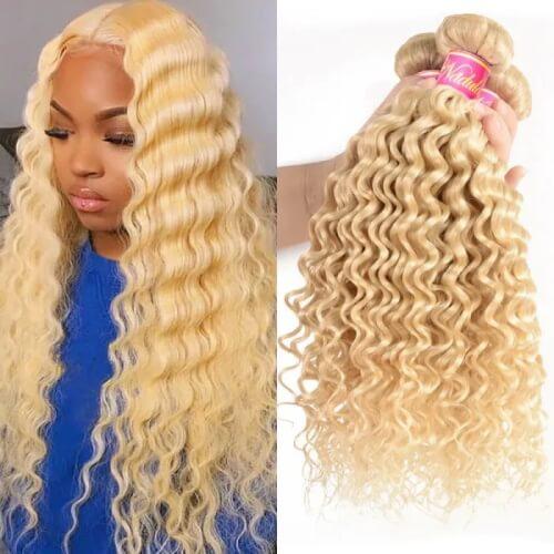 3 bundles blonde deep wave hair