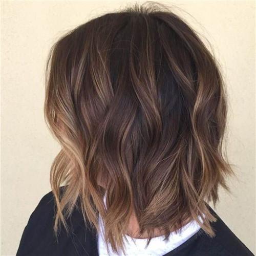 brown babayage on long bob haircut