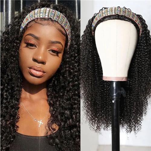 curly headband half wig
