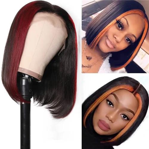 highlight burgundy bob wig