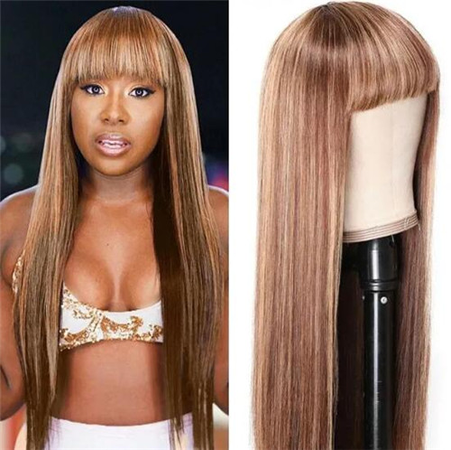 long brown wig with bangs
