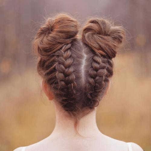 dutch braid space buns