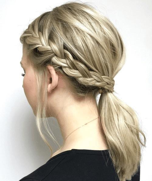 sidebraid with low ponytail