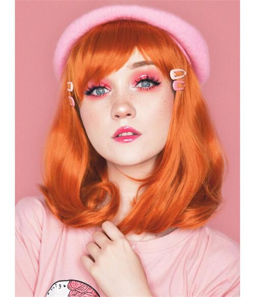 orange bob wig with bangs