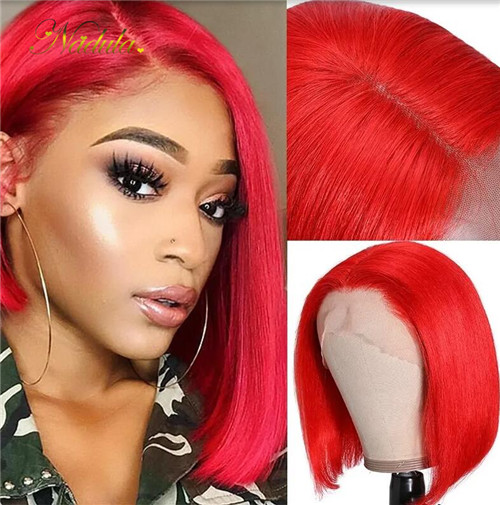 Red bob lace front wig